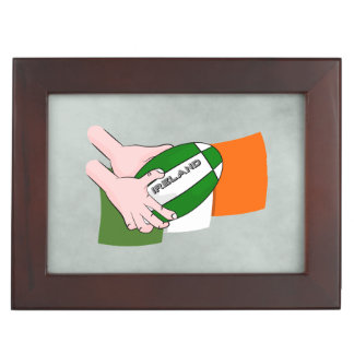 Ireland Rugby Team Supporters Flag With Ball Keepsake Box