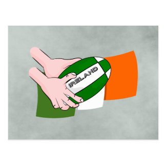 Ireland Rugby Team Supporters Flag With Ball Postcard