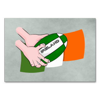Ireland Rugby Team Supporters Flag With Ball Table Card