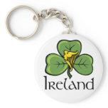 Ireland Shamrock and Harp Keychain