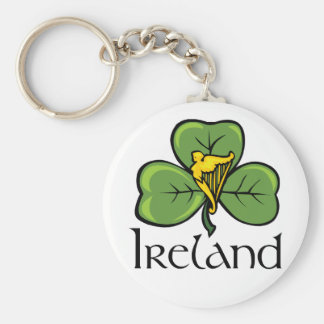 Ireland Shamrock and Harp Keychain