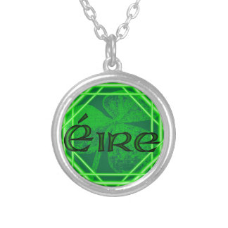 Ireland Shamrock Stamp (Encased)by Kenneth Yoncich Silver Plated Necklace