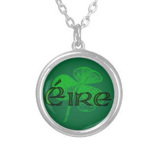 Ireland Shamrock Stamp (Plain) by Kenneth Yoncich Silver Plated Necklace