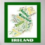 Ireland Silhouette Word Art Poster