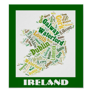 Ireland Silhouette Word Art Poster