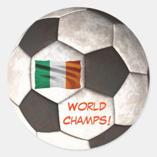"Ireland Soccer Ball ""World Champs"" Football Sports Classic Round Sticker"