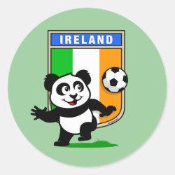 Round Sticker with Ireland Football Panda design