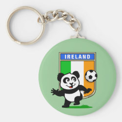 Basic Button Keychain with Ireland Football Panda design