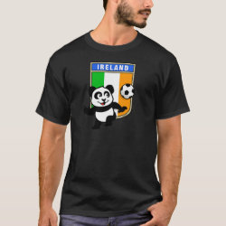 Men's Basic Dark T-Shirt with Ireland Football Panda design