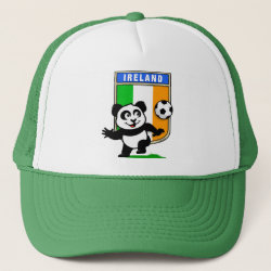 Trucker Hat with Ireland Football Panda design
