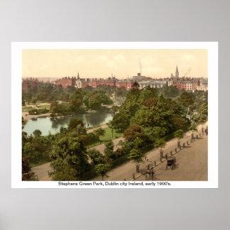 Ireland - Stephens Green Park Dublin city Print