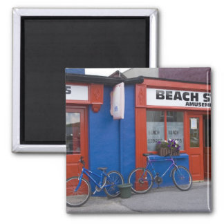 Ireland, Strandhill. Storefronts with bicycles 2 Inch Square Magnet
