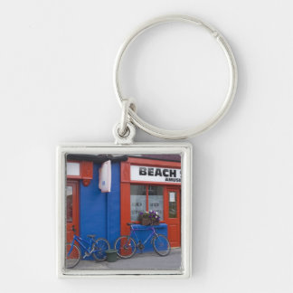 Ireland, Strandhill. Storefronts with bicycles Keychain