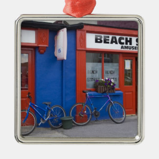 Ireland, Strandhill. Storefronts with bicycles Metal Ornament