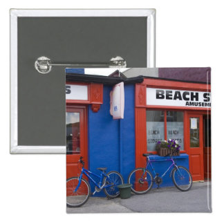 Ireland, Strandhill. Storefronts with bicycles Pinback Button