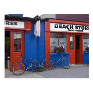 Ireland, Strandhill. Storefronts with bicycles Post Card