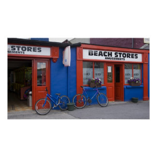 Ireland, Strandhill. Storefronts with bicycles Poster