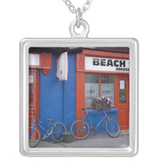 Ireland, Strandhill. Storefronts with bicycles Silver Plated Necklace