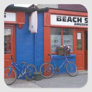 Ireland, Strandhill. Storefronts with bicycles Square Sticker