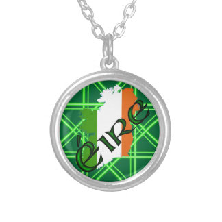 Ireland Stripes v2 by Kenneth Yoncich Silver Plated Necklace