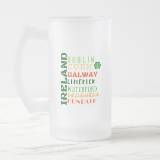 IRELAND SUBWAY ART FROSTED GLASS BEER MUG