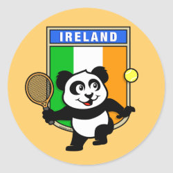 Round Sticker with Irish Tennis Panda design