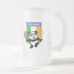 Frosted Glass Mug with Irish Tennis Panda design