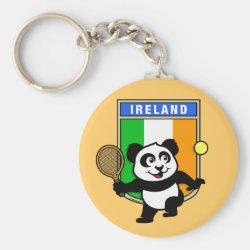 Basic Button Keychain with Irish Tennis Panda design