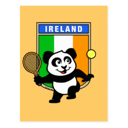 Postcard with Irish Tennis Panda design