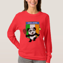 Women's Basic Long Sleeve T-Shirt with Irish Tennis Panda design