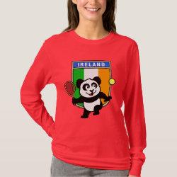 Women's Basic Long Sleeve T-Shirt with Irish Tennis Panda design