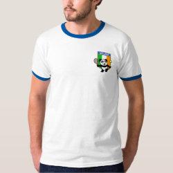 Men's Basic Ringer T-Shirt with Irish Tennis Panda design