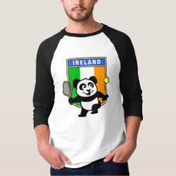 Men's Basic 3/4 Sleeve Raglan T-Shirt with Irish Tennis Panda design