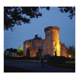 Ireland, the Dromoland Castle lit at dusk, Photo Art