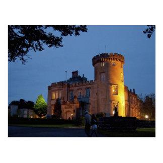Ireland, the Dromoland Castle lit at dusk, Postcard