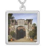 Ireland, the Dromoland Castle Walled Garden Square Pendant Necklace