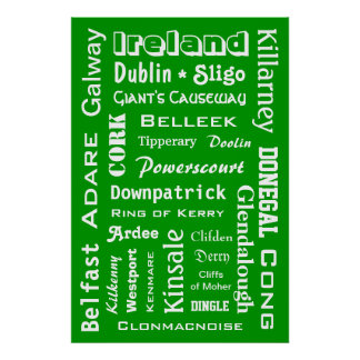 Ireland Towns & Places Poster