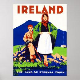 Ireland Vintage Travel Poster