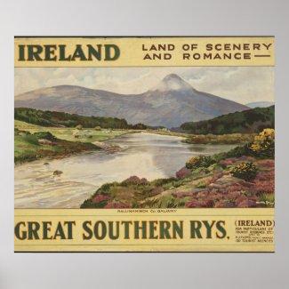 Ireland Vintage Travel poster ad print