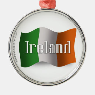 Ireland Waving Flag Metal Ornament
