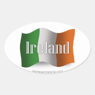 Ireland Waving Flag Oval Sticker