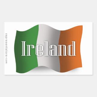 Ireland Waving Flag Rectangular Sticker