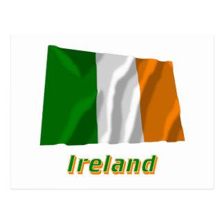 Ireland Waving Flag with Name Postcard
