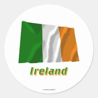 Ireland Waving Flag with Name Classic Round Sticker
