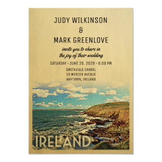 Ireland Wedding Invitation Vintage Mid-century at Zazzle