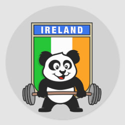 Round Sticker with Irish Weightlifting Panda design