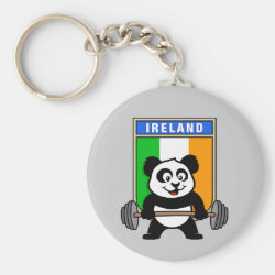 Basic Button Keychain with Irish Weightlifting Panda design