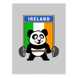 Postcard with Irish Weightlifting Panda design