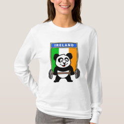 Women's Basic Long Sleeve T-Shirt with Irish Weightlifting Panda design