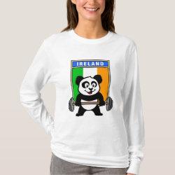 Women's Basic Long Sleeve T-Shirt with Irish Weightlifting Panda design